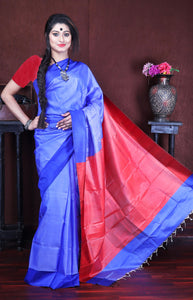 Dual tone blue and maroon sonamukhi silk saree