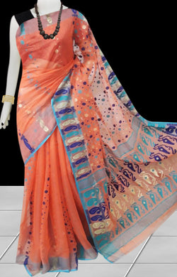 Orange color base soft dhakai Jamdani cotton saree