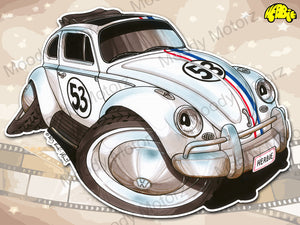 HERBIE THE LOVE BUG Volkswagen Movie Car Koolart Leather and Chrome Keyring