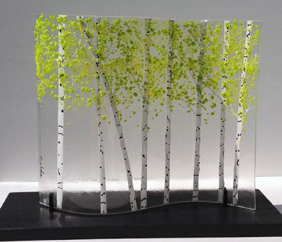 Green Aspen Glass Sculpture