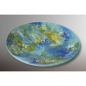 Glass Passover Plate Ocean Breeze Tones