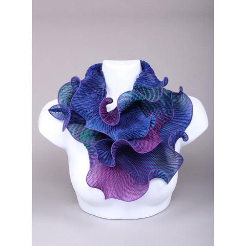 Shibori Silk Scarf Blue and Purple