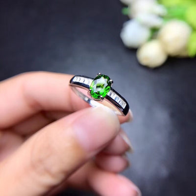 Diopside Silver Ring