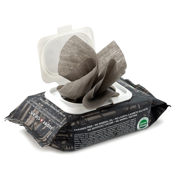 Charcoal Cleansing Tissue Wipes-open