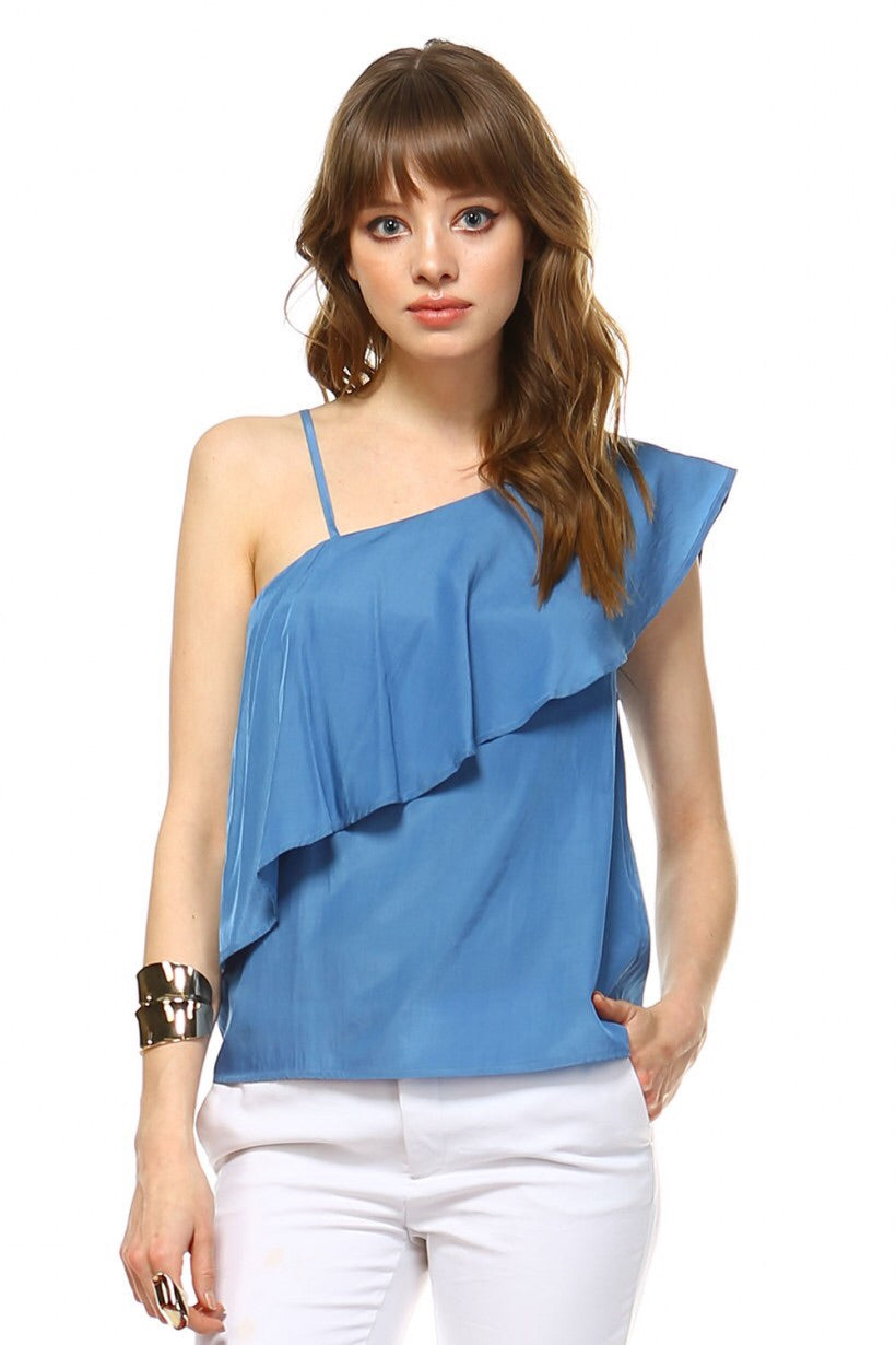 Flounce Layer Top, Blue