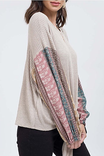 Blu Pepper Long Multicolored Sleeved Boho Sweater