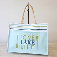 Love Lake Life Jute Pocket Tote Sky/Green/White