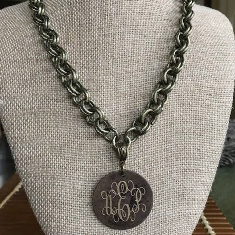 Jessie's Necklace with Monogrammed Disc