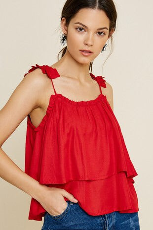 Tiered Pleated Strap Top