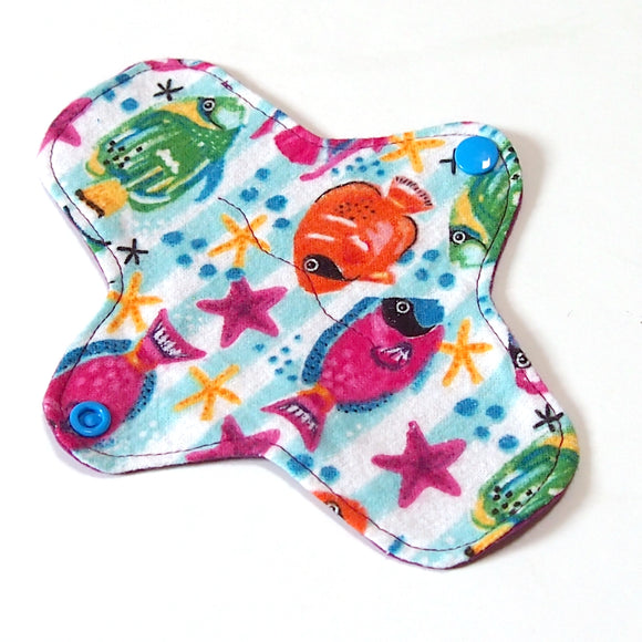 7 inch Reusable Cloth winged ULTRATHIN Pantyliner - Tropical Fish Cotton Flannel Top