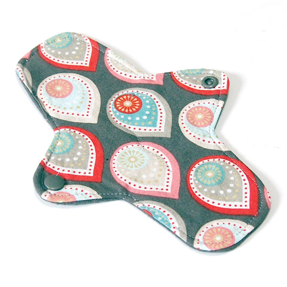 8 inch Reusable Cloth winged ULTRATHIN Pantyliner - Teardrop Paisley Quilter's Cotton Top