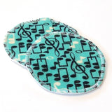 Large Reusable Nursing Pad Set in Bamboo/Organic Cotton with heavy fleece in Cotton Flannel - Music Notes