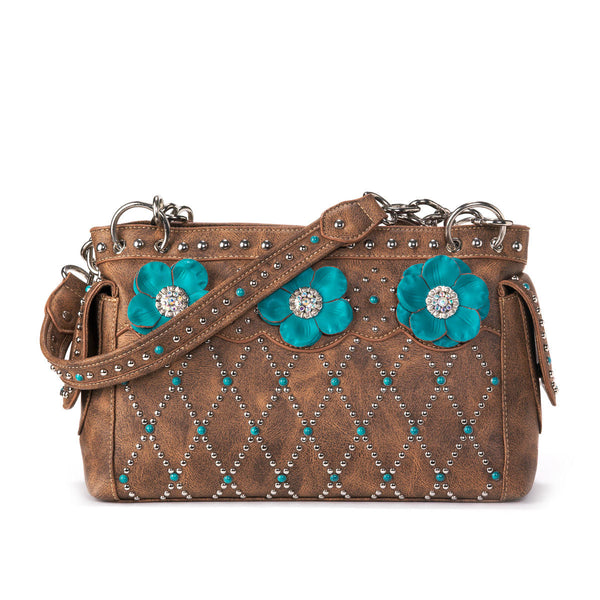 Willow Turquoise Flower Handbag