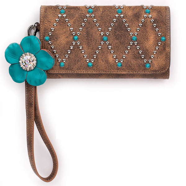 Willow Turquoise Flower Wallet