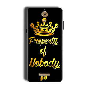 Coolpad Mega 2.5D Mobile Covers Cases Property of nobody with Crown - Lowest Price - Paybydaddy.com