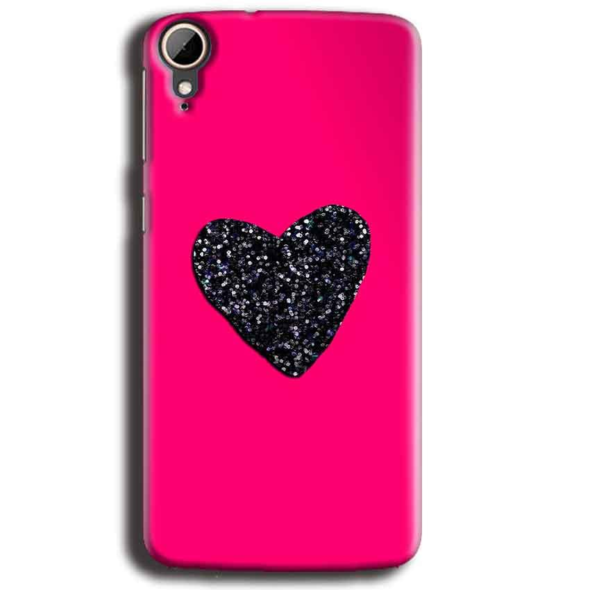 HTC Desire 828 Mobile Covers Cases Pink Glitter Heart - Lowest Price - Paybydaddy.com