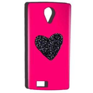 Reliance Lyf Flame 7 Mobile Covers Cases Pink Glitter Heart - Lowest Price - Paybydaddy.com