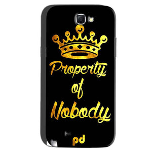 Samsung Galaxy Note 2 Mobile Covers Cases Property of nobody with Crown - Lowest Price - Paybydaddy.com