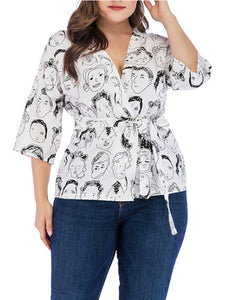 Head Print Tied Three Quarter Sleeve Shirt