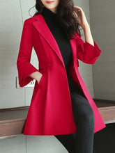 Lapel Plain Longline Pocket Bell Sleeve Coat