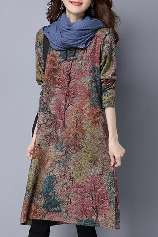 Scoop Neck  Printed Vintage Casual Dresses