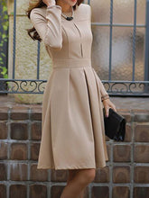 Round Neck  Ruffled Hem  Plain  Polyester Skater Dress