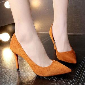 Plain  Stiletto  High Heeled  Faux Suede  Point Toe  Basic Pumps