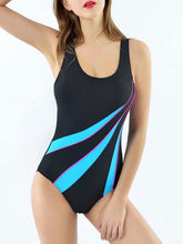 Support Patchwork Cut Out Back High Waisted Stretchy One Piece Swimwear