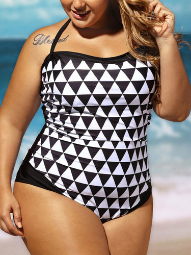 Spaghetti Strap  Printed Plus Size One Piece