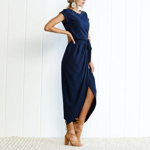 Elegant Round Collar Pure Color Irregular Work Dress