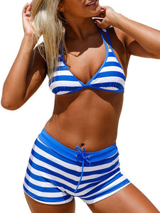 Backless  Zigzag Striped  High-Rise Bikini