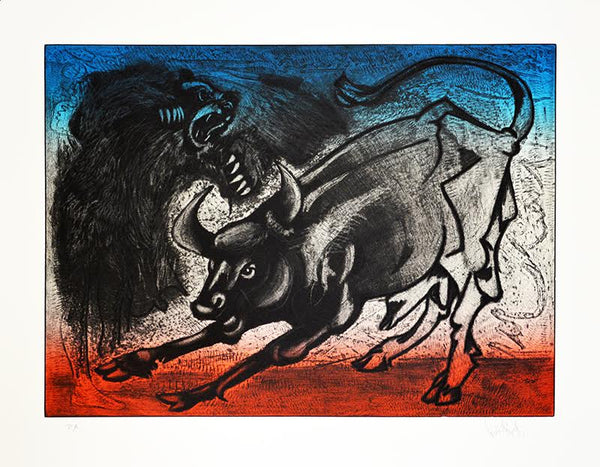 "Luis Miguel VALDÉS,  ""Bull and Bear"", Etching (VAL373)"