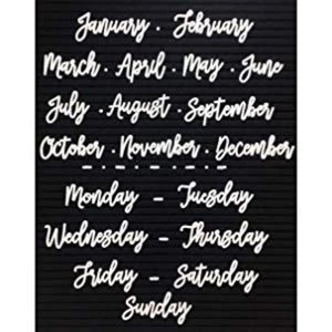 Cursive Days of the Week and Months of the Year Letter Set for Felt Letterboards - Letter Board -White - Laura Baby and Company