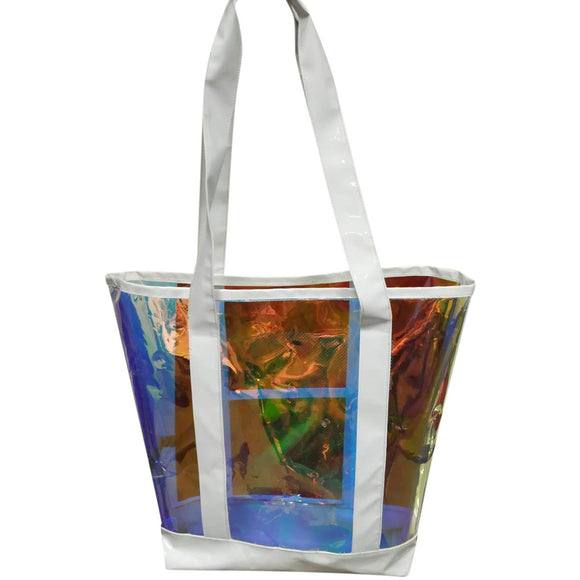 The new summer iridescent leather bag, hand bag, White clear transparent and iridescent handbag, beach tote bag, sand shoulder shopping bags - Laura Baby and Company