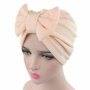 Solid Knitted hat Women Bow Hat Beanie Scarf Turban Head Wrap Cap For bandana bowknot Wrap hat Cap headwrap tie - Laura Baby and Company