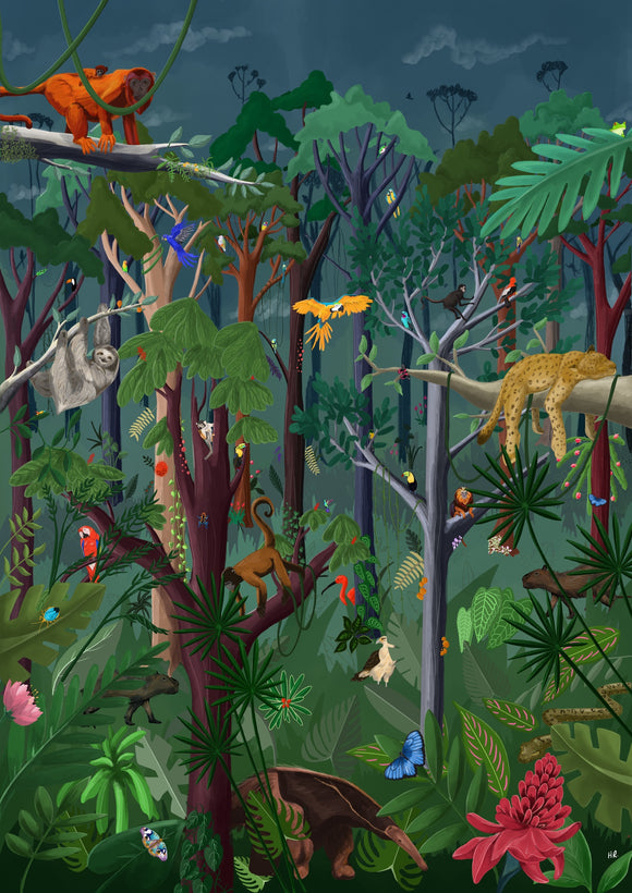 Colourful rainforest art print with animals birds and insects