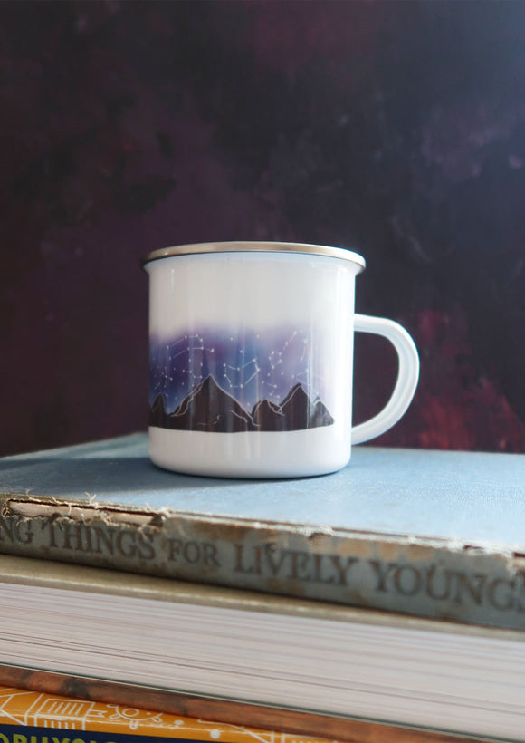 constellation and mountains outdoor camping enamel mug