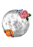 magical art print of a grey moon with pink flowers and peachy fruit