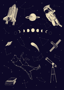 space flash sheet art print navy and cream