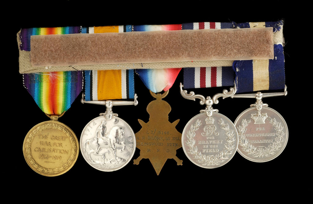 Detail of Medals awarded to Arthur Robert Blore (reverse, right to left, MED1860-1864) by B. Mackennal