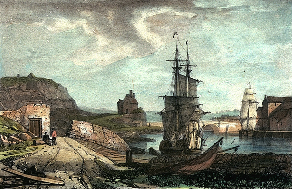 Detail of Stonehouse Bridge from Richmond Walk. Illustrations of Plymouth, Devonport, etc No.2 by GR Sartorius