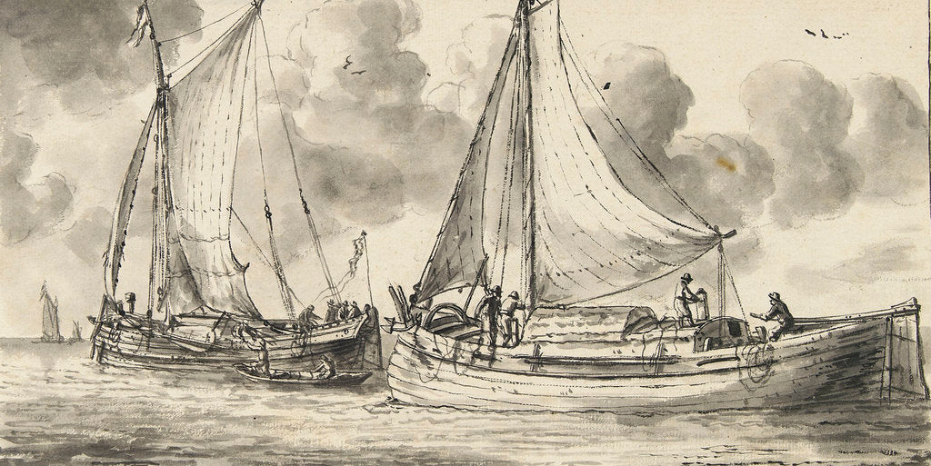 Detail of Study of a waterschip and a smalschip - fishing boats by Reinier Nooms