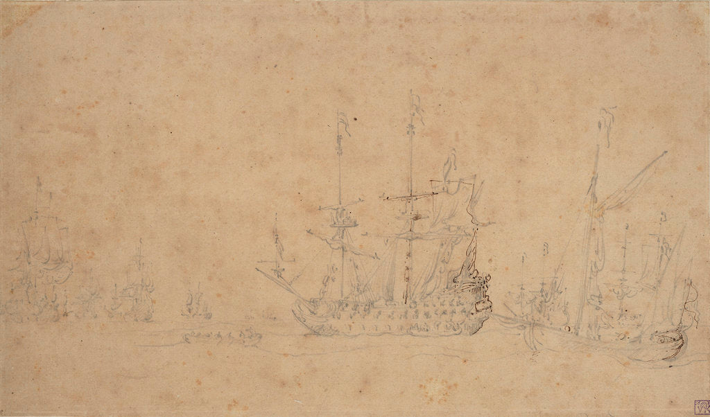 Detail of The Dutch fleet becalmed at anchor in a swell, May 1672? by Willem van de Velde the Elder