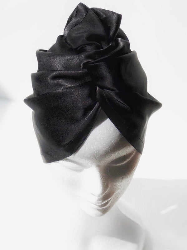 Black Silk Turban - SILKCROWN