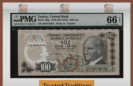 TT PK 0189a 1970 TURKEY 100 LIRA PMG 66 EPQ GEM UNCIRCULATED POP TWO - ONE FINER!