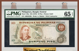 TT PK 0149a 1970 PHILIPPINES 10 PISO PMG 65 EPQ GEM UNCIRCULATED FINEST KNOWN