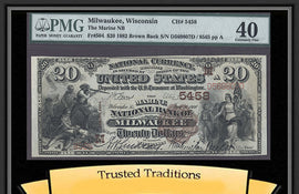 TT FR 0504 1882 $20 NBN MILWAUKEE, WI BROWN BACK CH # 5458 PMG 40 EXTREMELY FINE