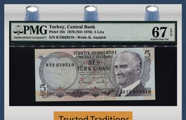 TT PK 0185 1970 TURKEY 5 LIRA PMG 67 EPQ SUPERB GEM UNCIRCULATED POP 6 NONE FINER