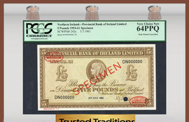 TT PK 0242s 1954-61 NORTHERN IRELAND 5 POUNDS PCGS 64 PPQ VERY CHOICE NEW