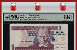 "TT PK 0216 2005 TURKEY 1 NEW LIRA ""PRESIDENT ATATURK"" PMG 68 EPQ SUPERB GEM UNC"